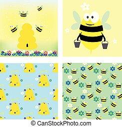 collection., pattern., deux, seamless, miel, abeilles, cartes