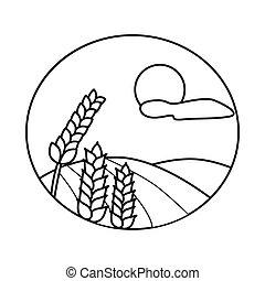 collection, paysage, champ, symbole., stockage, symbole, blé, vecteur, web., illustration