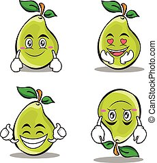 Collection pear character cartoon set
