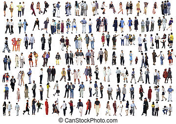 Collection  people. Rear view. Isolated over white.