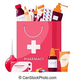 collection, pharmacie, concept., traitement, santé, ...