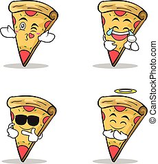 Collection pizza character cartoon set