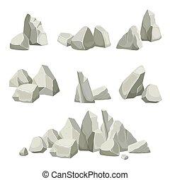 collection., plat, vecteur, éléments, montagnes., pierres, nature, rochers, différent, création, kit