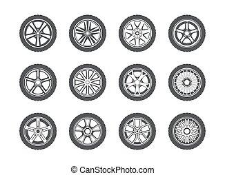 collection, pneu, roue, pneu, icônes