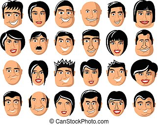 Collection portrait cartoon men women characters isolated