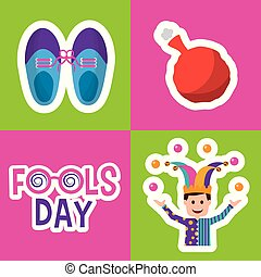 collection prank tricks fools day celebration vector...