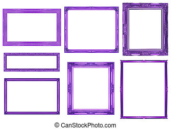 collection purple frame isolated on white background, clipping path