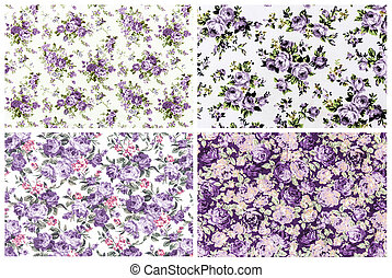 collection purple rose vintage on fabric background
