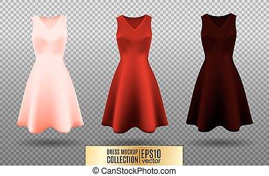 collection., rózsaszínű, vektor, kívül, illustration., mockup, vinous, sleeves., ruha, berakás, skirt., variation., gyakorlatias, piros, women's, ünnepies, közeg