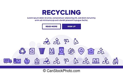Collection Recycling Thin Line Icons Set Vector