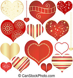 Collection red and gold isolated hearts