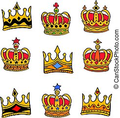 Collection red crown style doodles