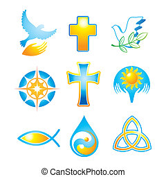collection-religious-symbols - Collection of religious icons...