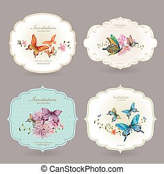 collection retro label with butterflies. watercolor painting. ve
