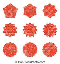 Collection retro stars shapes. Red sparkles. Vintage postal stamps and postmarks