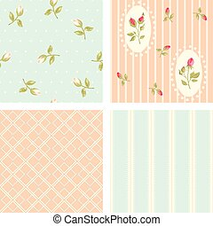 Collection retro vector seamless patterns in shabby chic style