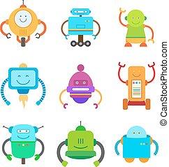 collection, rigolote, illustrations, robots, coloré