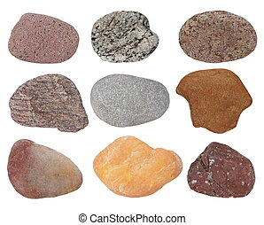 Collection Rocks isolated on white