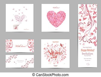 collection romantic invitation cards with love . butterflies are
