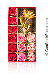 Collection roses in red box isolated on white.