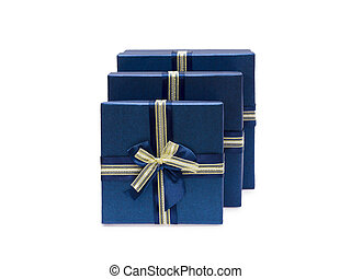 Collection row of blue gift boxes with bows