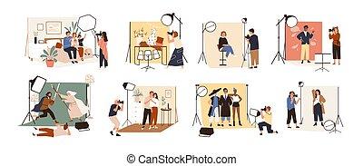 collection, séance, studio, -, vecteur, couple, divers, photo, chien, pendant, photographier, famille, dessin animé, plat, fonctionnement, illustration., photographes, modèles, mâle, photographique, celebrity., femme