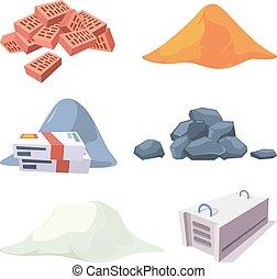 collection., sable, bloc, matériel, pierres, gypse, vecteur,...