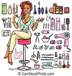 collection., salone, cartone animato, bellezza