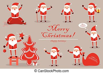 Collection Santa Claus for Christmas. Characters cute flat. Funny cartoon  with different emotions.   is ready to the new year.