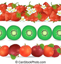 collection seamless borders with fruits on white background. app