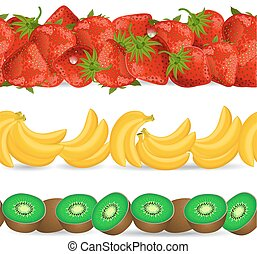 collection seamless borders with fruits on white background. ban