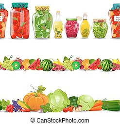 collection seamless borders with preserve food, vegetables, frui