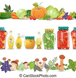 collection seamless borders with preserve food, vegetables, mush