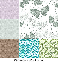 Collection seamless pastel patterns