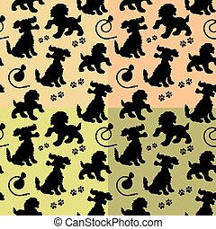 Collection Seamless pattern, black silhouette of dog and leash and trace,