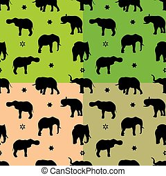Collection Seamless pattern, silhouette of the indian black elephant,