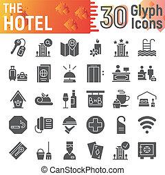 collection, service, paquet, ensemble, hôtel, isolé, croquis, symboles, solide, vecteur, arrière-plan., pictograms, signes, logo, blanc, auberge, illustrations, icône, glyph