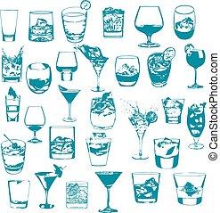 collection., set., cocktail, whisky, vettore, menu, festa,...