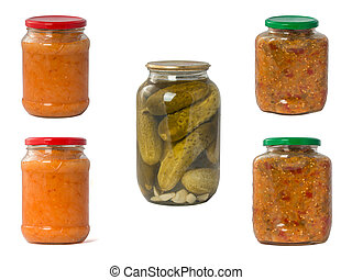 collection set of canned vegetables in glass jars isolated on wh