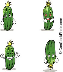 Collection set of cucumber character cartoon
