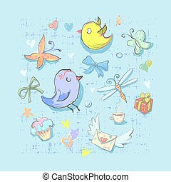 Collection Set of Cute Birthday Party Themed Birds and ...
