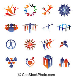 Collection set of icons and design elements related to community, office staff, family, couple & people in general. These colorful icons show concepts like teamwork, leadership, love, happiness, idea