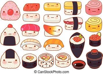 Collection set of lovely baby japanese food doodle icon, cute sushi, adorable sashimi, sweet nigiri, kawaii uramaki, girly temaki in childlike manga cartoon isolated on white