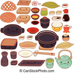 Collection set of lovely japanese kitchen ware doodle icon, cute pot, adorable glass, sweet teapot, kawaii dish, girly kitchen utensil in childlike manga cartoon isolated on white