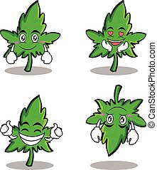 Collection set of marijuana character cartoon
