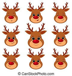 Collection, set of nine cute reindeer head isolated on a white background. Joyful, happy, sleeping, smiling. Cartoon, flat style, vector