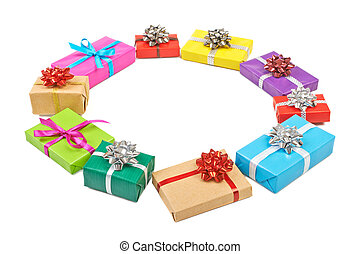 Collection set of rows colorful gift boxes