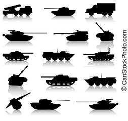Collection set of tanks of guns and military technology