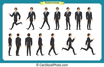 Collection set of Walking and running businessman.  Variety of movements. Flat Character man cartoon style, Side view, haft front view,Vector design isolated vector.
