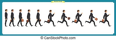 Collection set of Walking and running businessman. Walk, run, active. Variety of movements. Flat Character man cartoon style, Side view, haft front view,Vector design isolated vector.